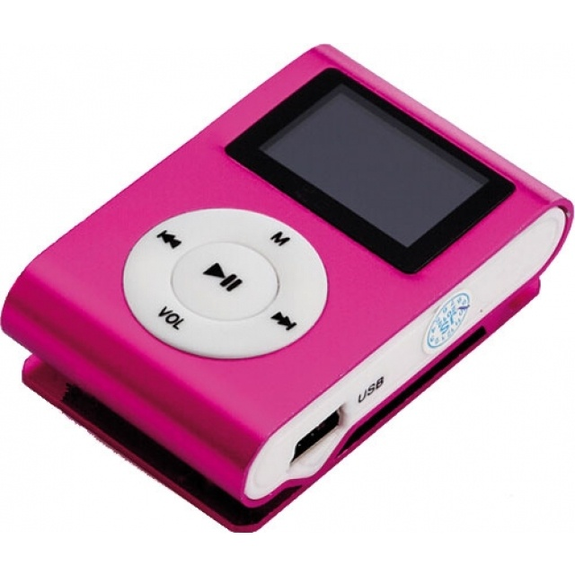 Logo trade promotional merchandise photo of: Mini Clip-on MP3  color pink