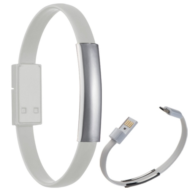 Logotrade promotional item image of: Silicon bracelet with data cable LE PORT, white