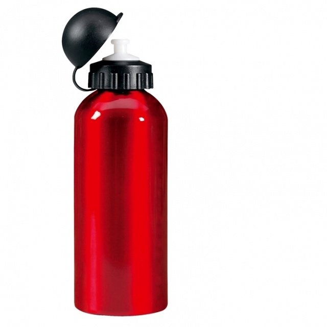 Logo trade promotional merchandise image of: Metal drinking bottle 'Charlotte'  color red