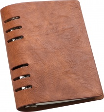 A6 business notebook with binder and calendar, brown