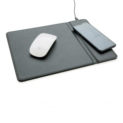 Logo trade promotional giveaways image of: Mousepad with 5W wireless charging, black