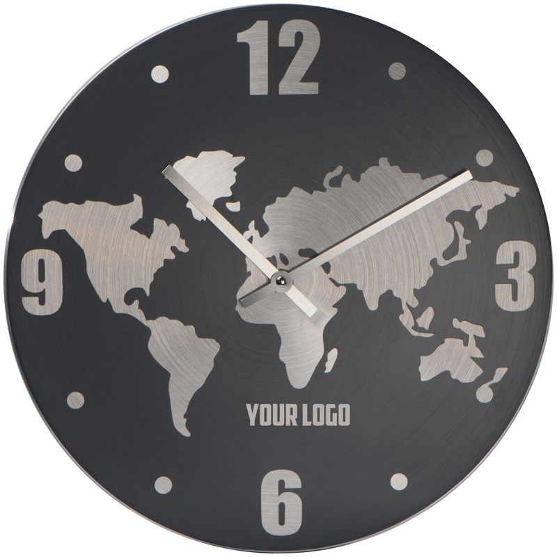 Logo trade promotional products image of: Aluminium wall clock, grey/black