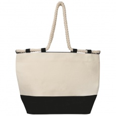 Beach bag with drawstring, black/natural white