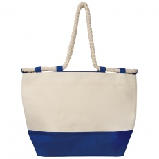 Beach bag with drawstring, blue/natural white