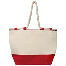 Beach bag with drawstring, red/natural white