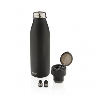 Logo trade promotional giveaway photo of: Swiss Peak vacuum bottle with mini true wireless earbuds, bl