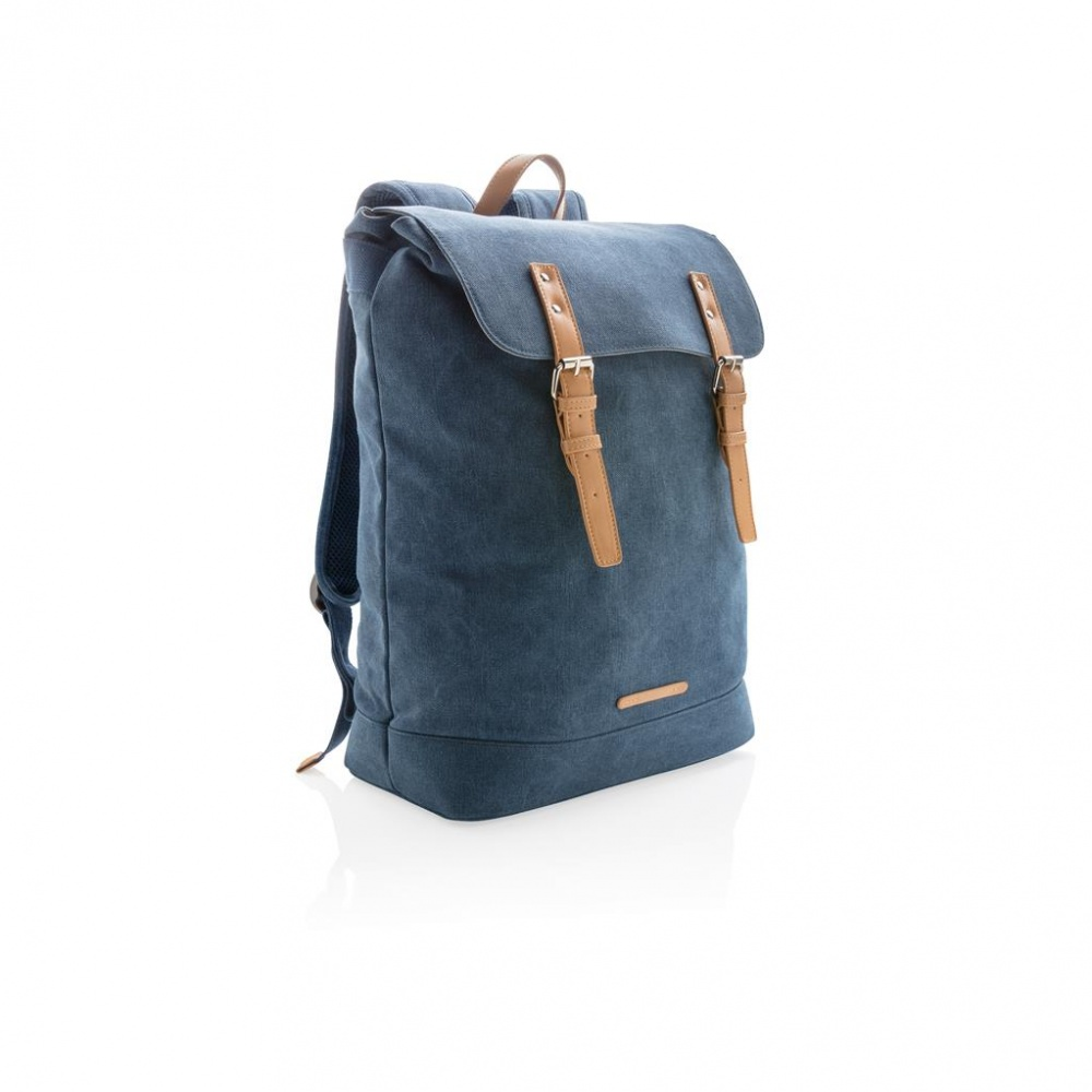 Logo trade promotional giveaways picture of: Canvas laptop backpack PVC free, blue