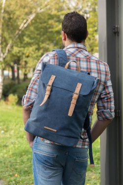 Logotrade promotional giveaway image of: Canvas laptop backpack PVC free, blue