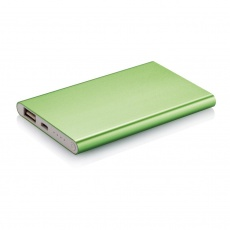 4000 mAh powerbank, green, with personalized name, sleeve, gift wrap