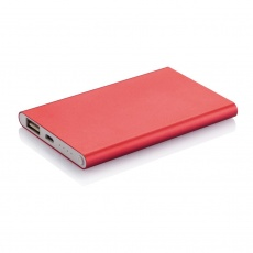4000 mAh powerbank, red, with personalized name, sleeve and gift wrap