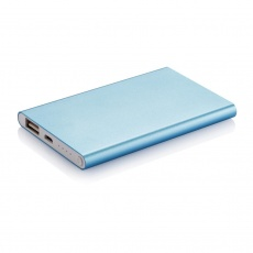 4000 mAh powerbank, blue, with personalized name, sleeve, gift wrap