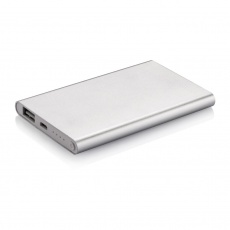 4000 mAh powerbank, silver, with personalized name, sleeve, gift wrap