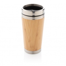Bamboo tumbler, brown with personalized name, sleeve and gift wrap