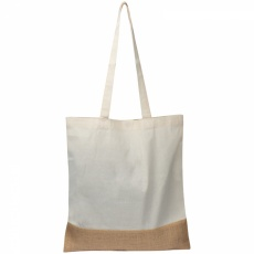 Carrying bag with jute bottom, White