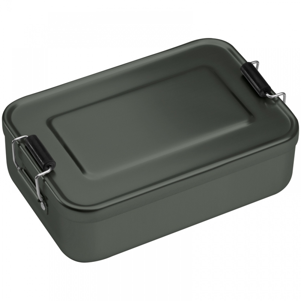 Logo trade promotional giveaway photo of: Aluminum lunch box with closure, Grey