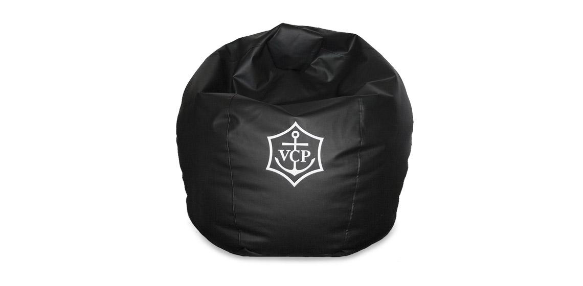 Säkkituoli silkkipaino Veuve logolla
