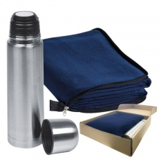 Set fleece blanket + thermal flask, navy