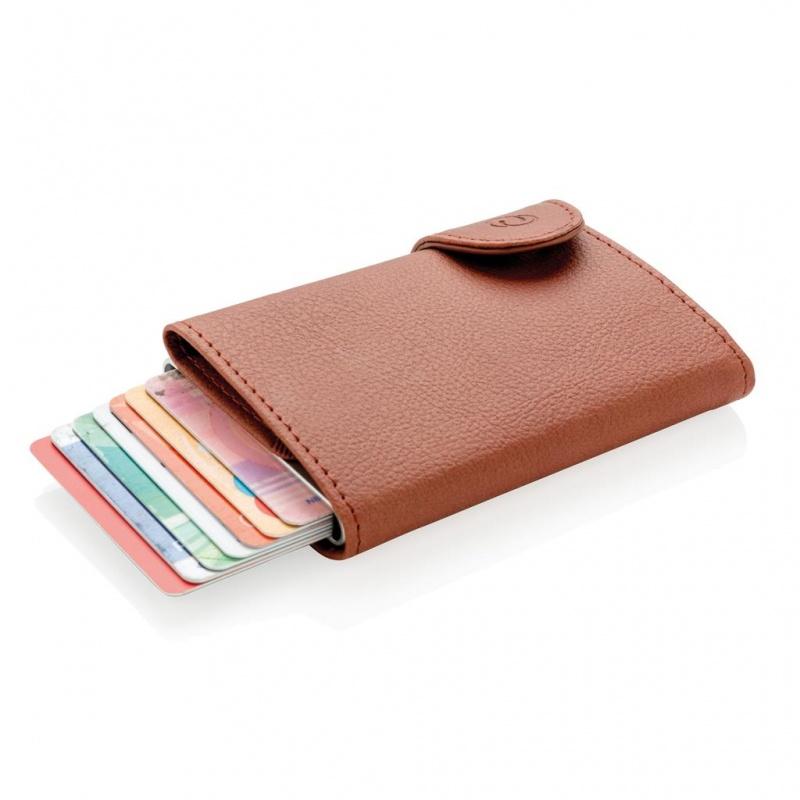 Ruskea ja hopeanvärinen korttilompakko C-Secure RFID