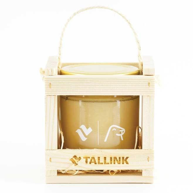 Joululahjaideoita - Kukkahunaja puisessa lahjapakkauksessa logolla