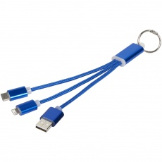 Metal 3-in-1 Charging Cable, синий