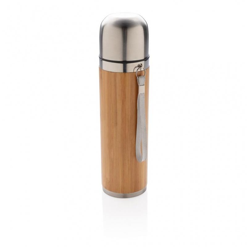 Бамбуковая вакуумная дорожная колба 400 мл, коричневая с логотипом